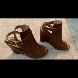 Express - Brown/Tan Open Heel Wedges